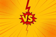 Versus VS letters fight backgrounds in flat comics style design with halftone, lightning. Vector Stock Photo