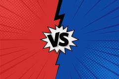 Versus VS letters fight backgrounds in flat comics style design with halftone, lightning. Vector. Illustration vector illustration
