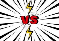 versus VS słowo z błyskawicą na czarny i biały wystrzał sztuki tle z sunbeams wektor ilustracji