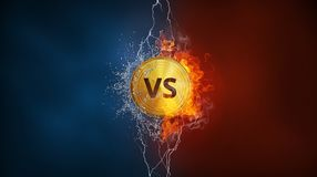 Versus VS sign in fire, water splashes and lightning. Versus VS sign exploding by elements fire flame, water splashes and lightning. Confrontation, competition Royalty Free Stock Photo