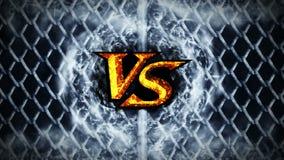 Versus walki animacja na kruszcowym drucianego ogrodzenia tle VS iskra ogień na Sport bitwa CG p?tli animacja ilustracji