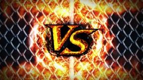 Versus walki animacja na kruszcowym drucianego ogrodzenia tle VS iskra ogień na Sport bitwa CG p?tli animacja ilustracja wektor