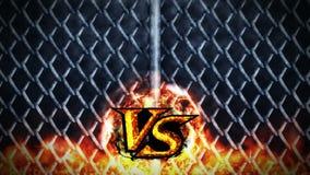 Versus walki animacja na kruszcowym drucianego ogrodzenia tle VS iskra ogień na Sport bitwa CG p?tli animacja royalty ilustracja