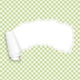 Vert à carreaux de papier ouvert déchiré Photos stock