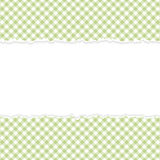 Vert à carreaux de papier ouvert déchiré Images libres de droits