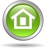 Vert à la maison d'icône de Web de bouton Images stock