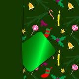 Vert 1 de carte de Noël Photographie stock libre de droits