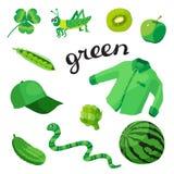 Vert Apprenez la couleur Ensemble d'éducation Illustration de couleurs primaires Photographie stock libre de droits