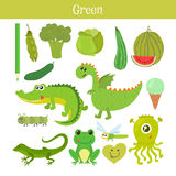 Vert Apprenez la couleur Ensemble d'éducation Illustration de c primaire Photo libre de droits