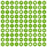 vert automatique d'hexagone de 100 icônes de centre de service illustration libre de droits