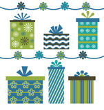 vert bleu de cadeaux Photos libres de droits