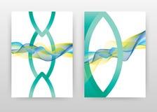 Vert bleu a ondulé les lignes conception de texture pour le rapport annuel, brochure, insecte, affiche Les lignes ondulées ont do illustration de vecteur