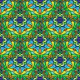 Vert bleu sans couture Mandala Pattern florale de vecteur Photographie stock libre de droits
