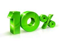 Vert brillant 10 Dix pour cent, vente sur le fond blanc, objet 3D Image stock