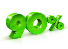 Vert brillant 90 quatre-vingt-dix pour cent, vente D'isolement sur le fond blanc, objet 3D Photos libres de droits