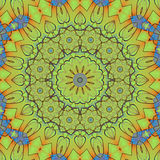 Vert clair bleu orange d'ornement floral abstrait de cercle Image libre de droits