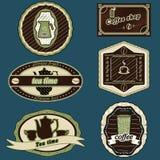 Vert d'autocollants de café et de thé Photo stock