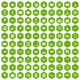 vert d'hexagone de 100 icônes de service postal illustration libre de droits