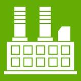 Vert d'icône de bâtiment d'usine illustration libre de droits