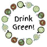 Vert de boissons Guirlande décorative des tasses de vert et de tisane Ornement comique tiré par la main de style de bande dessiné illustration stock