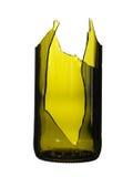 Vert de bouteille cassé d'isolement sur le fond blanc Photo libre de droits