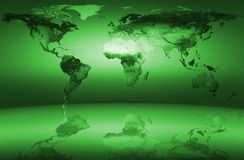 Vert de carte du monde Images stock