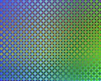 Vert de cercles de l'art op mille à bleu et à orange Photos stock