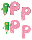 Vert de crayon de la lettre P Photos stock
