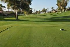 Vert de golf avec l'indicateur en trou Image stock