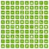 100 vert de grunge réglé d'achats de femme par icônes Photos libres de droits