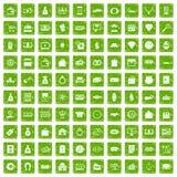 100 vert de grunge réglé d'argent par icônes Photos libres de droits