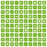 100 vert de grunge réglé d'auteur par icônes Images stock