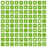 100 vert de grunge réglé d'enfant par icônes centrales illustration stock