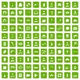 100 vert de grunge réglé de professions par icônes différentes Image libre de droits
