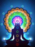 Vert de la meditación de Chakra stock de ilustración