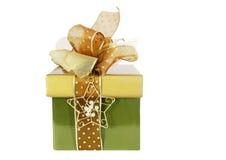 Vert et cadre de cadeau d'or Photos stock