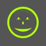 Vert heureux d'illustration d'icône de visage de sourire sur le fond gris Photos stock