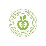 Vert naturel Logo Design Template With Apple de nourriture de Vegan dans le cadre rond favorisant le mode de vie sain et les prod Photographie stock libre de droits