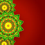 Vert rouge de fond de mandala Photos libres de droits