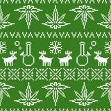 Vert sans couture de fond de vecteur de mauvaise herbe de Noël d'art de pixel Images stock