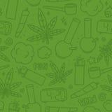 Vert sans couture de modèle de vecteur de bande dessinée de mauvaise herbe de marijuana Photo stock
