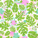 Vert sans couture en feuille de palmier de modèle de jungle tropicale de hippie Images stock
