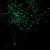 Vert sur le fond abstrait noir Points se reliants avec des lignes Photos stock