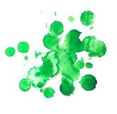 Vert tiré par la main d'aquarelle abstraite d'aquarelle Photos stock