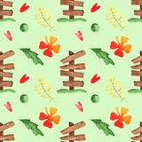 Vert tiré par la main Ren Yellow Seamless Pattern de collection de voiture de garçons d'aquarelle illustration libre de droits