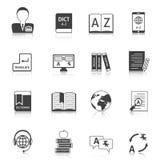 Vertaal en woordenboek geplaatste pictogrammen vector illustratie