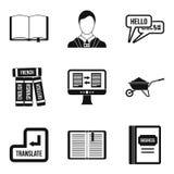 Vertaal geplaatste boekpictogrammen, eenvoudige stijl Stock Foto's