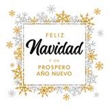 Vertaalt de gouden tekst Prospero Ano Nuevo van Feliz Navidad Spanish: Vrolijke Kerstmis en Gelukkig Nieuwjaar stock illustratie