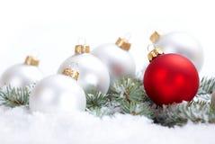 Vertakken de Kerstmis mooie witte en rode ballen zich met spar en sneeuw op witte achtergrond Royalty-vrije Stock Fotografie