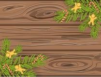 Vertakt de hand getrokken Kerstmis vectorachtergrond zich, bruine houten textuur met chritmasboom, candycanes en peperkoekmensen vector illustratie